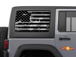 Jeep Wrangler Jk Jl Distressed Tattered American Flag Window Hardtop Set Vinyl Decal 2007 2019
