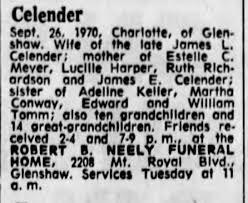 Charlotte Tomm Celender obituary - Newspapers.com