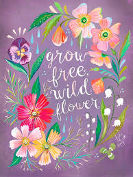Wheatpaste Purple Grow Free Wildflower By Katie Daisy Wall Decal Wayfair