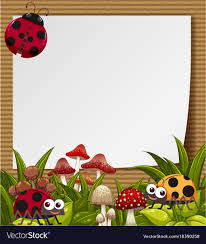 with cute ladybugs in garden vector image