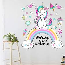 Colorful Unicorn Rainbow Wall Stickers Dream Like A Unicorn Quote Wall Art Decal For Kids Room Girls Bedroom Nursery Decor Wall Stickers Aliexpress