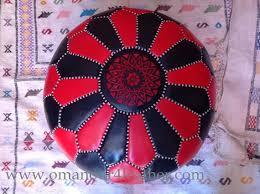 hand stitch large leather ottoman pouf