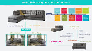 contemporary charcoal fabric sectional