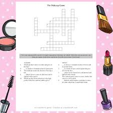 a free makeup crossword game play q and a
