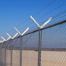 Galvanized Barbed Razor Wire Security Fencing Fixed With Y Posts