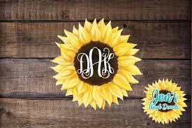 Sunflower Monogram Yeti Decal Initials Car Window Decal Etsy