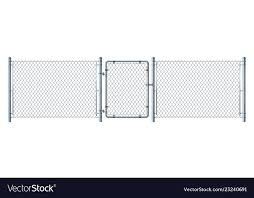 Realistic Metal Wire Fence And Gate Detail Vector Image