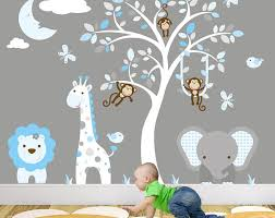 Safari Wall Stickers Blue And Grey Nursery Decals Swinging Monkeys Grey Tree Mural Baby Boys Decor Birds Giraffe Elephant Stencil Jungle Wall Stickers Nursery Wall Decals Nursery Wall Stickers