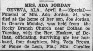 Obituary for ADA JORDAN (Aged 54) - Newspapers.com