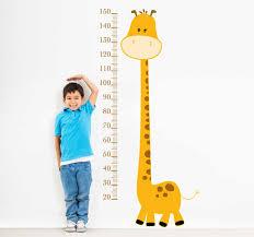 Yellow Giraffe Height Chart Kids Sticker Tenstickers