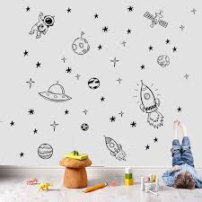 Rocket Ship Astronaut Creative Vinyl Wall Sticker For Boy Room Decoration Outer Space Wall Decal Nursery Kids Bedroom Decor Nr13 Wall Stickers Aliexpress
