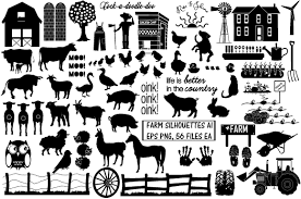 Farm Animal Silhouettes Ai Eps Png Pre Designed Photoshop Graphics Creative Market
