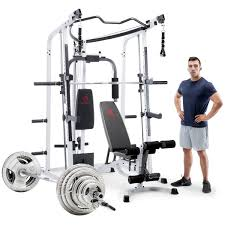 Marcy Pro MD-5191 Smith Machine and Bench with 140kg Olympic Weight Set and  Floor Matting -