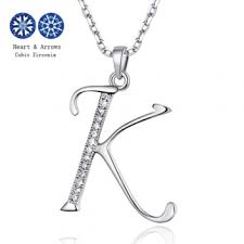 solid sterling silver letter k pendant