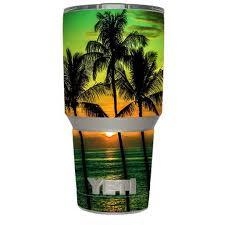 Skin Decal Vinyl Wrap For Yeti 30 Oz Rambler Tumbler Cup 6 Piece Kit Stickers Skins Cover Sunset Palm Trees Ocean Walmart Com Walmart Com
