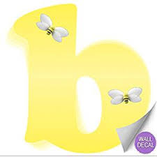 Buy Wall Decals Letter B Yellow Bumble Bee Letters Baby Name Decal Stickers Decorative Alphabet Decor Childrens Room Babys Nursery Girls Bedroom Kids Playroom By Bugs N Blooms In Cheap Price