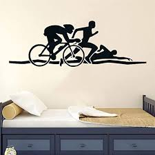 Amazon Com Triathlon Athletes Wall Sticker Bike Swim Run Sports Vinyl Wall Decals Health Fitness Murals Sportsman Home Interior Decor 126x42cm Kitchen Dining