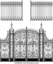 Gate And Fence Clip Art K2326248 Wrought Iron Gate Iron Gate Design Iron Gate