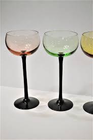 wine glass set of 6 black stems cordial