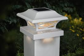 White Solar Post Cap Lights Warm White Dual Lighting Set Of 2