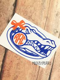 Florida Gators With Bow Monogram Vinyl Decal Monogram Decal Florida Decal Florida Gators Car Decal Yeti De Monogram Vinyl Decal Monogram Decal Yeti Decals
