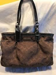 patent leather trim coach purse f15146