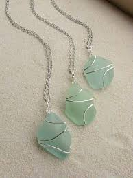 wire wrapped sea glass necklaces my