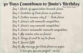 30 days countdown to jimin s birthday