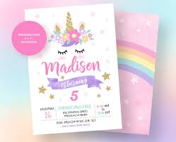 Unicorn Invitation Unicorn Birthday Invitation Unicorn Party