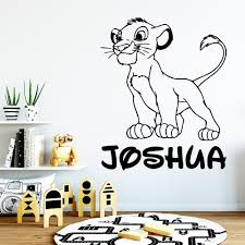 Super Deal F2fa0 Personalized Wall Sticker Custom Name Lion King Vinyl Decal Kids Bedroom Cartoon Decor Cute Simba Baby Room Decoration Removable Cicig Co