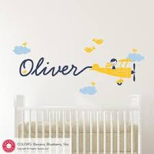 Airplane Skywriter Boy Wall Decal Personalized Name Baby Nursery Kids Graphic Spaces