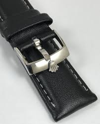 logo buckle 20mm black leather strap