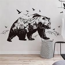 Large Black Bears Fish Mountain Wall Sticker Art Decals Diy Home Decor New Design Vinyl Wall Tattoo Vinilos Paredes Mural Wish