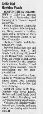 Peach, Callie Mai Hawkins - Obituary - Newspapers.com