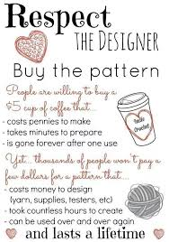 respect the designer buy the pattern crochet quote sewing