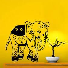 Shop Baby Elephant Floral Pattern Vinyl Sticker Animals Design Kids Nursery Bedroom Decor Sticker Decal 33 X 39 Color Black Overstock 15383333