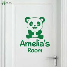 Yoyoyu Wall Decal Personalised Name Cute Panda Kids Room Door Wall Sticker Vinyl Mural For Girls Boys Room Home Art Qq177 Wall Stickers Aliexpress