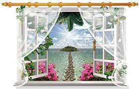 Amazon Com Dnven Window 34 Inches X 22 Inches 3d Full Colour High Definition Sheer Curtain Fake Window Road To Small Island Rivers Green Vines Wall Decals Stickers Wedding Anniversary Bedroom Bathroom Playroom
