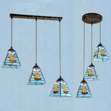 stained glass ship hanging light with