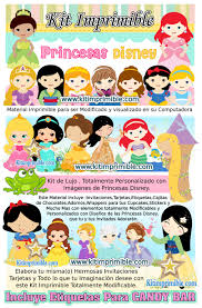 Kit Imprimible Princesas Disney Bebe Candy Bar Fiesta Kit