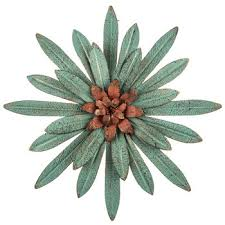 turquoise flower metal wall decor
