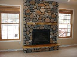 river stone fireplace ideas