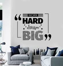 Vinyl Wall Decal Work Hard Dream Big Quote Room Home Decor Stickers Mu Wallstickers4you