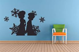 Amazon Com Anna And Elsa Frozen Wall Decals For Kids Rooms Let It Go Decor Girls Children Creative Animated Vinyl Decal Removable Stickers For Bedrooms Artwork Child Favorite Decoration Size 12x15 Inch Home