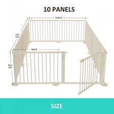 Foldable 10 Panel Kids Playpen Safety Fence New Zealand Pine Wood