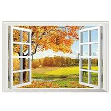 Sodial 3d Fake Window Wall Stickers Removable Faux