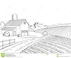 Farm Field Graphic Black White Sketch Illustration Stock Vector Illustration Of Graphic Fence 83751305