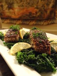 Spice Crusted Grilled Sturgeon with Rapini