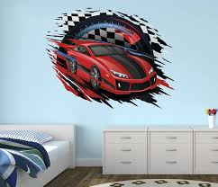Amazon Com Race Car Wall Decal Nursery Art Kids Bedroom Decor Vinyl Playroom Sticker Mural West Mountain Wm09 14 W X 12 H Home Kitchen