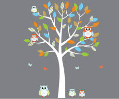Amazon Com Orange And Blue Owl Wall Decal Boy Owl Stickers With Tree Fabric Tree Baby